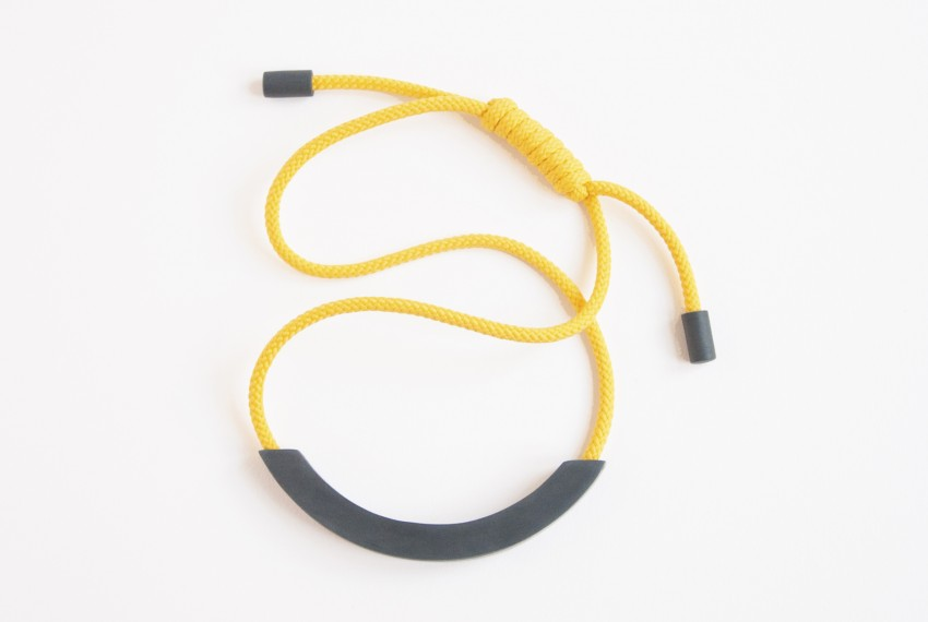 Beth Lamont Yellow Arc Adjustable Necklace Grey
