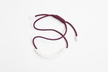 Beth Lamont Burgundy Arc Adjustable Necklace White