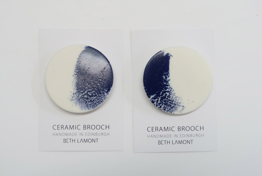 Beth Lamont Navy Brushstroke Brooch Large