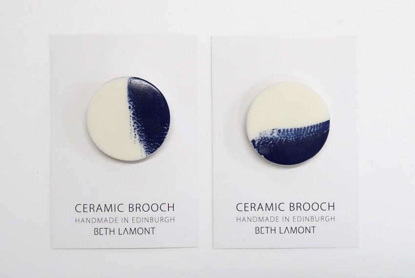 Beth Lamont Navy Brushstroke Brooch Small
