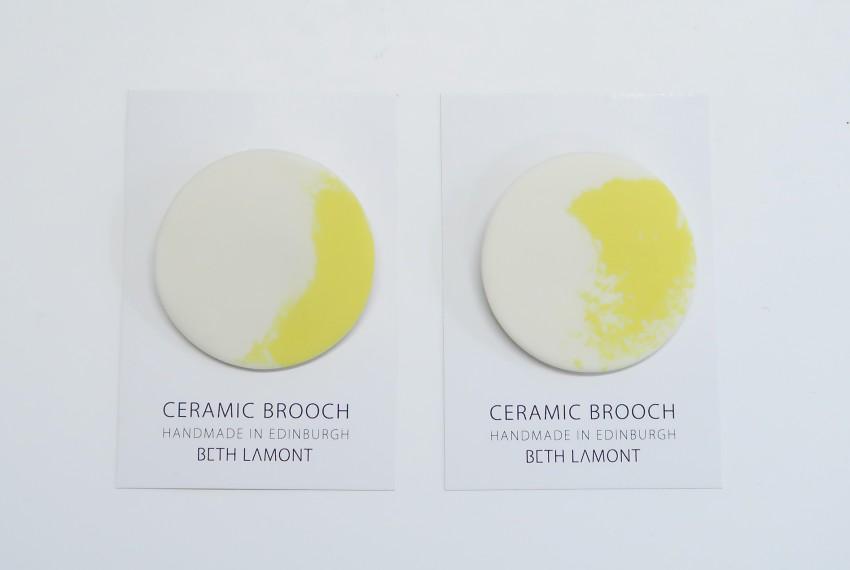 Beth Lamont Yellow Brushstroke Brooch Large