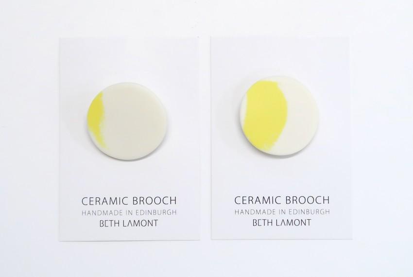 Beth Lamont Yellow Brushstroke Brooch Small