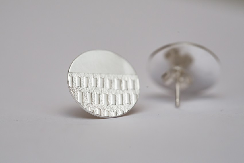 Jewellery, Round Textured Earrings by Morna Darling