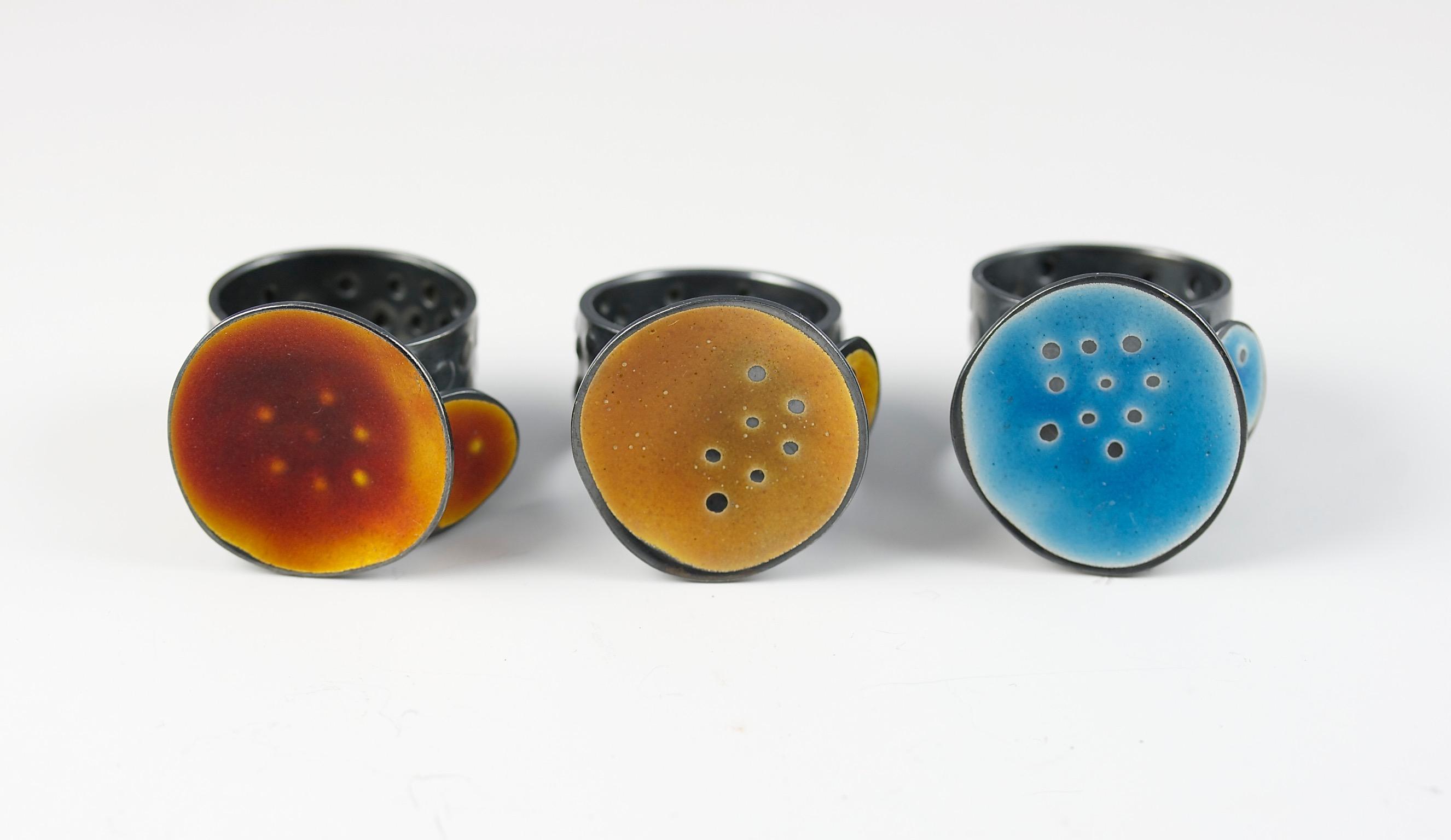 Sealife series rings - silver & enamel