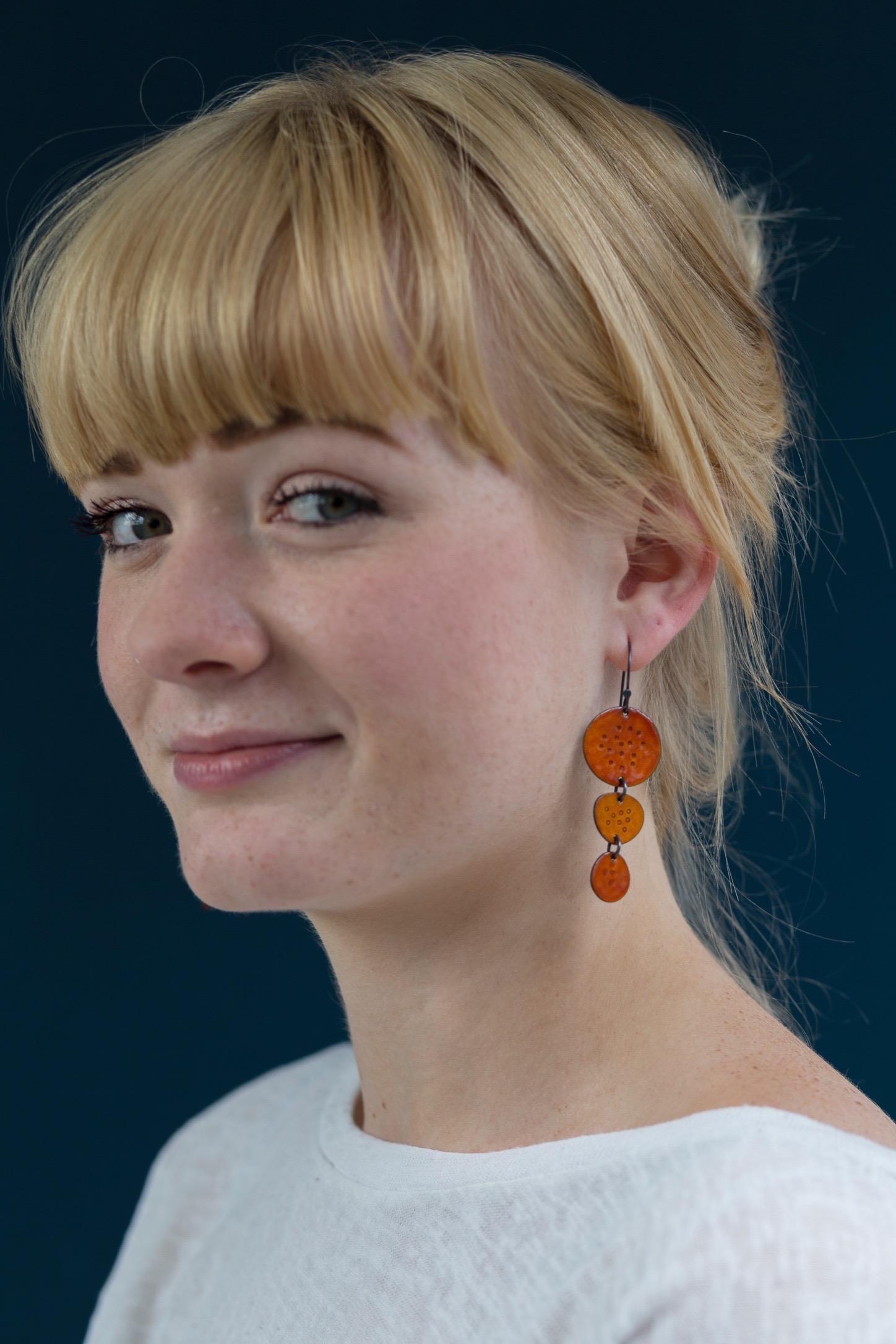 Triple drop earrings - silver & enamel - worn by Rowan
