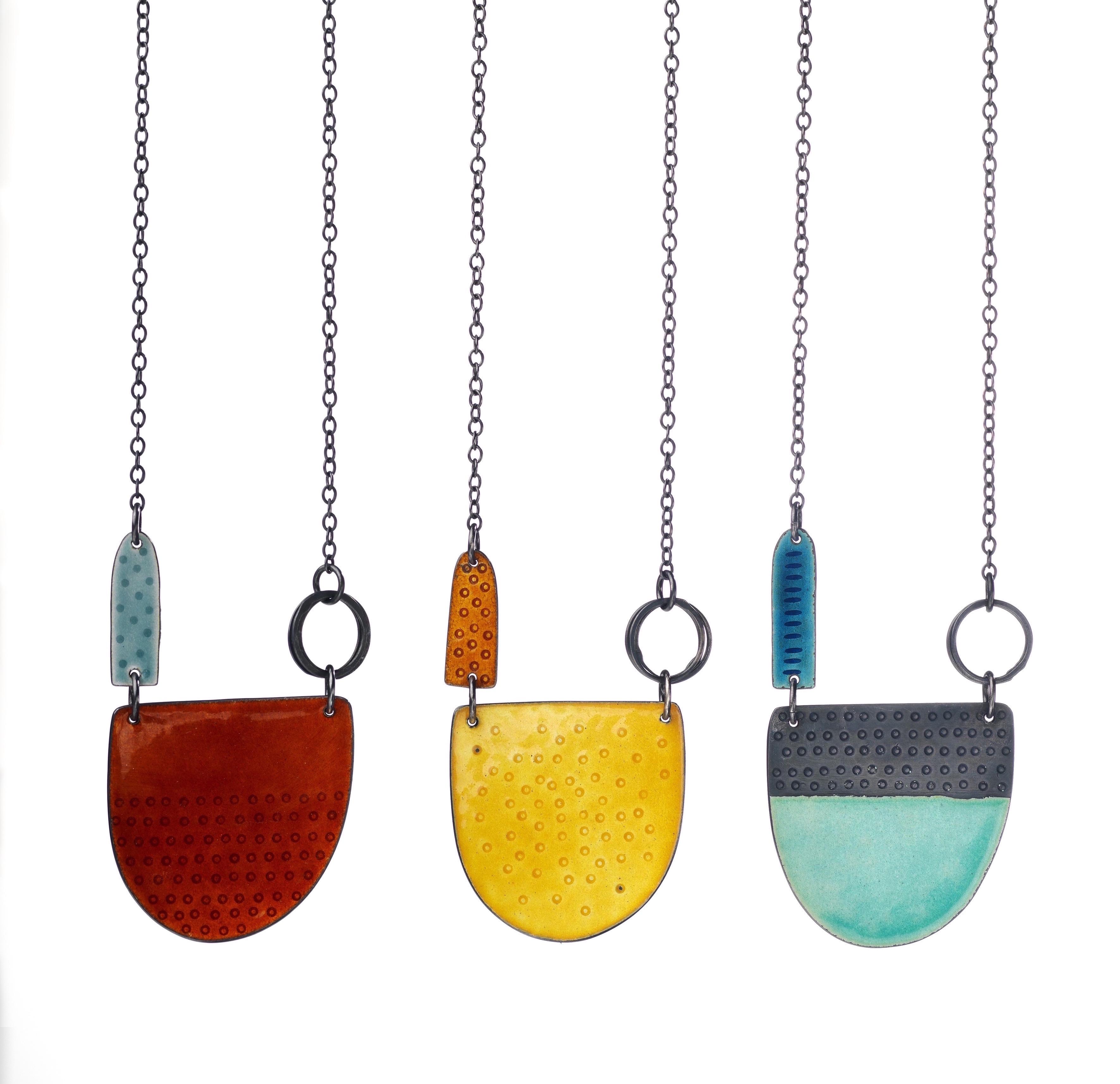 Tidal series neckpieces - silver & enamel