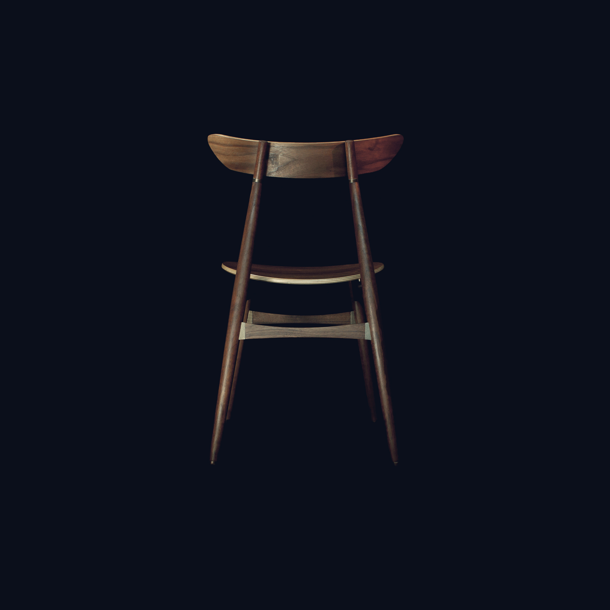 'Jodie' chair in 3D printed polished bronzed steel, walnut & plywood