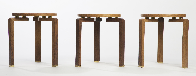 'Zanna' stools/side tables, in walnut, oak & brass