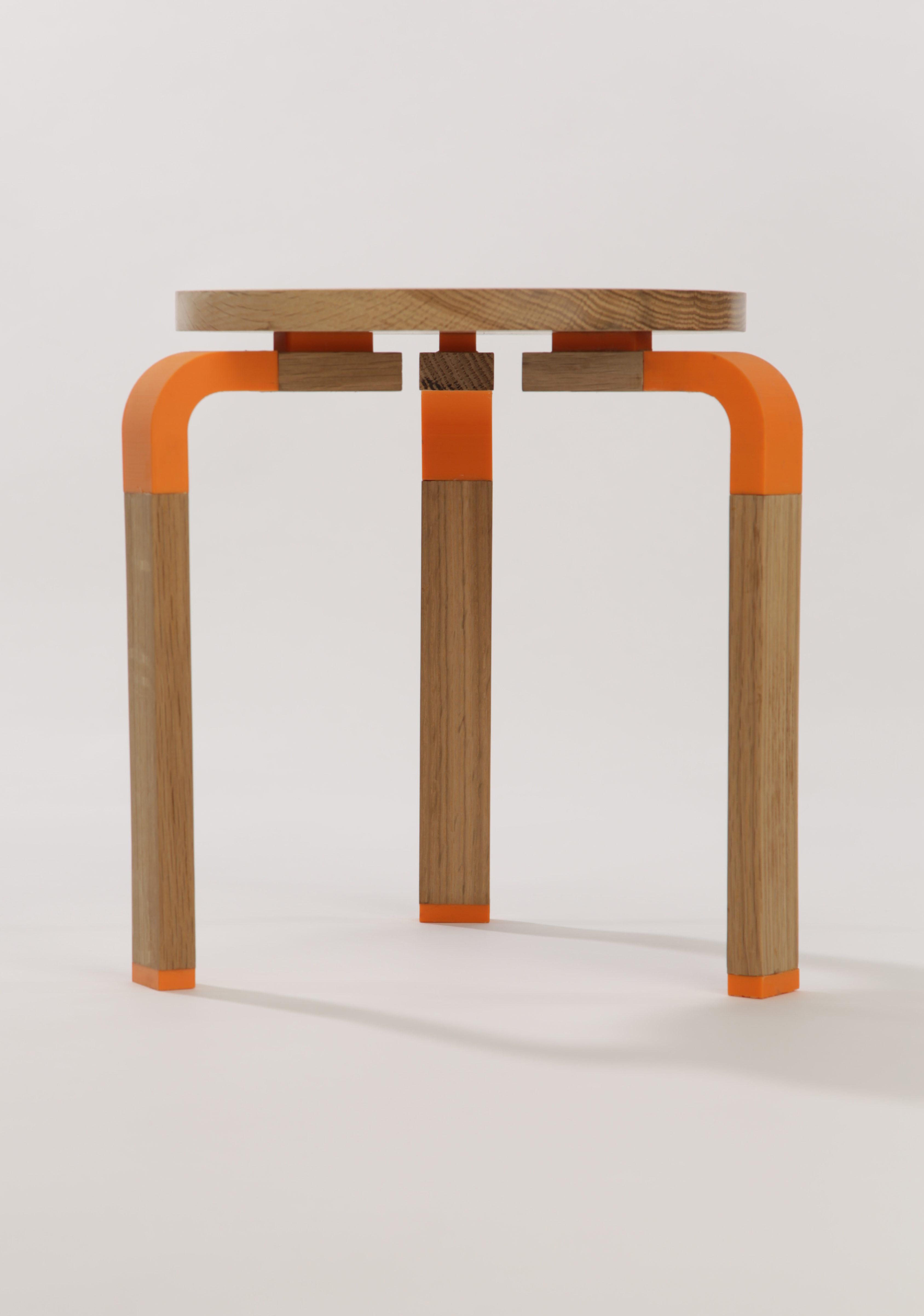 'J60' stool/side table, 3D printed PLA & oak