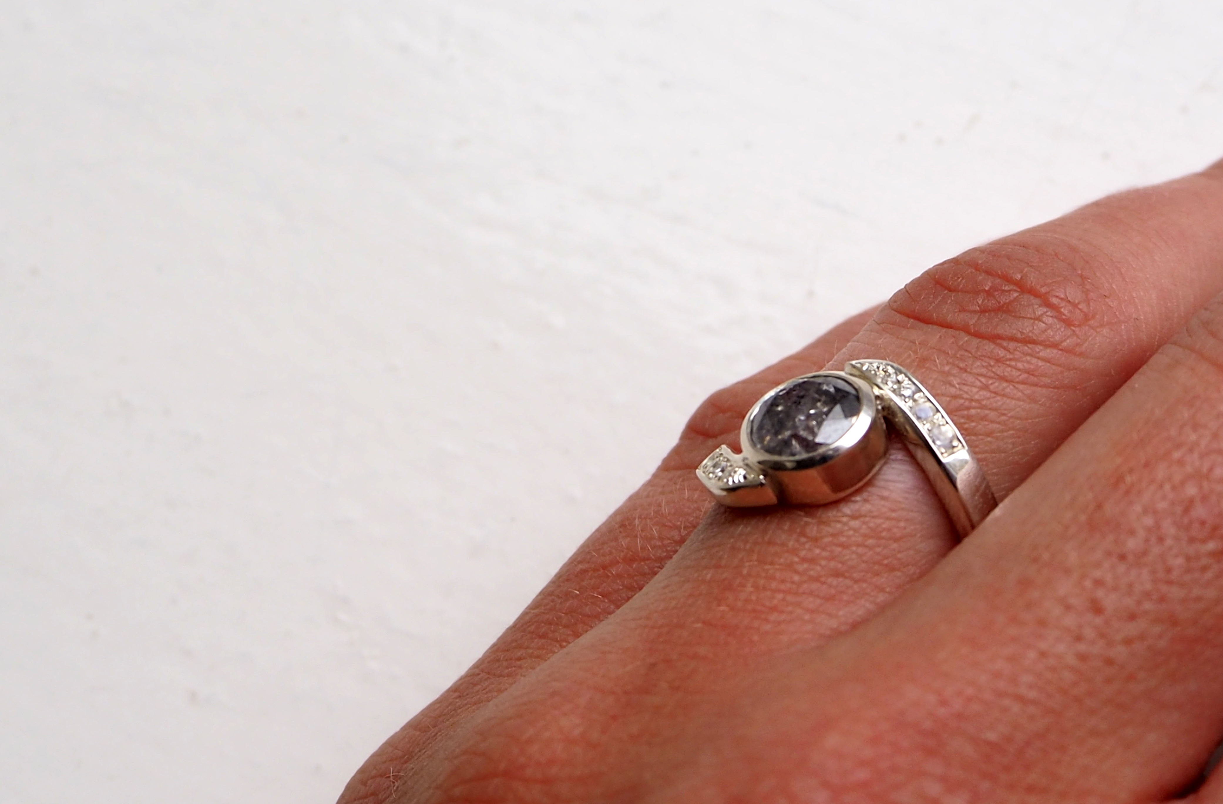 Bespoke Engagement with Ring Natural Grey Diamond