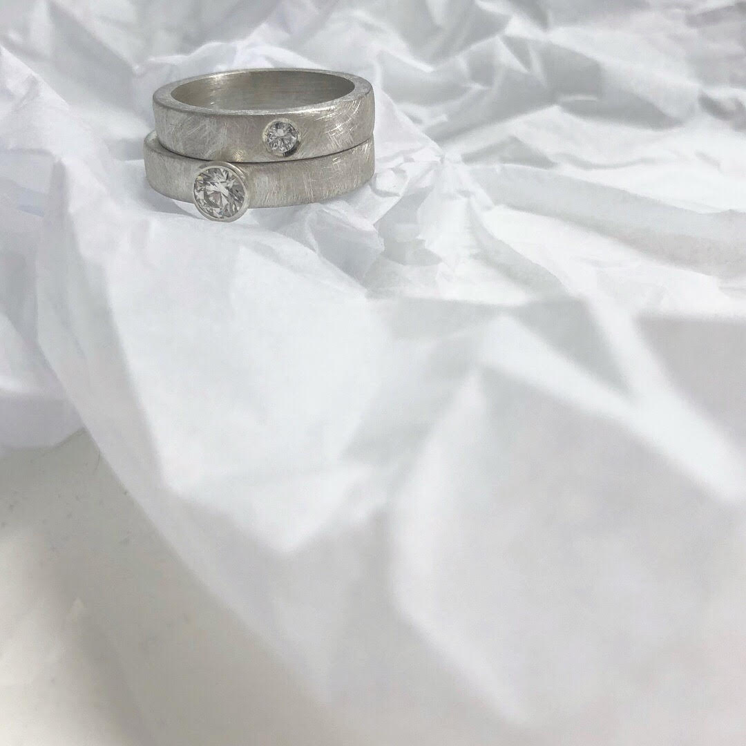 Engagement Set - Brushed Silver and Diamond