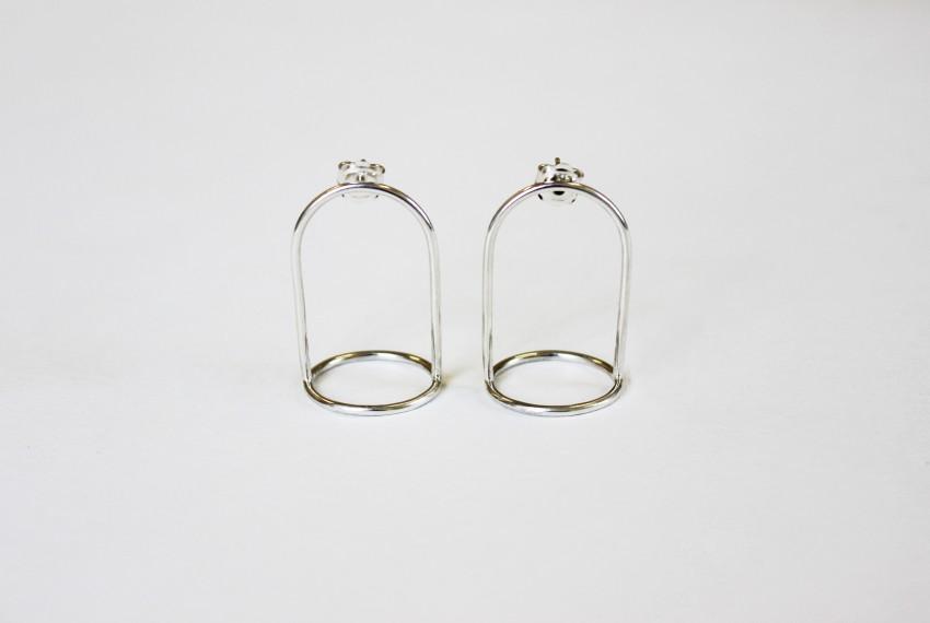 Ruth Leslie Bell Jar Earrings Silver