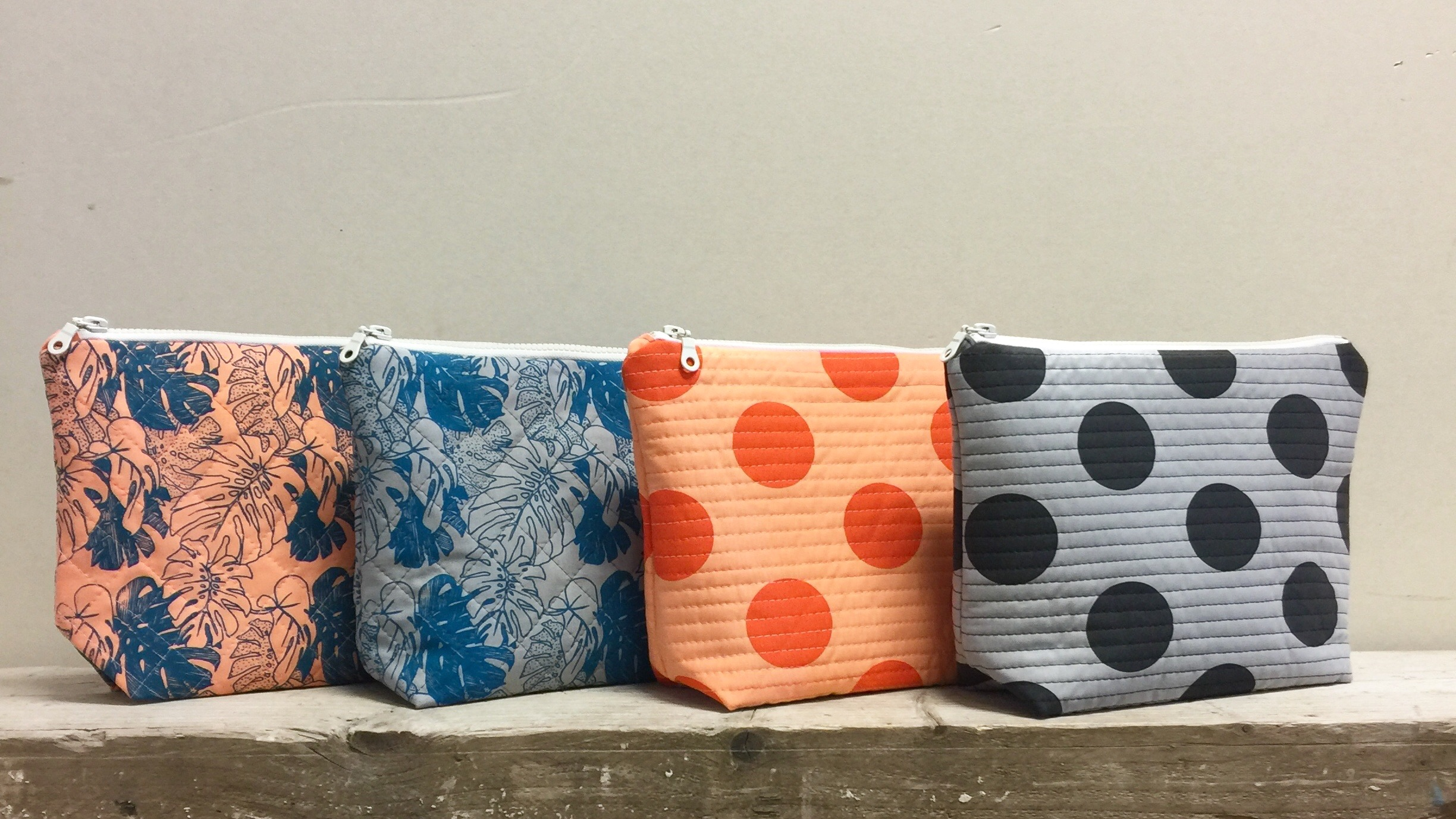 Handprinted/ Quilted Large Makeup Bags