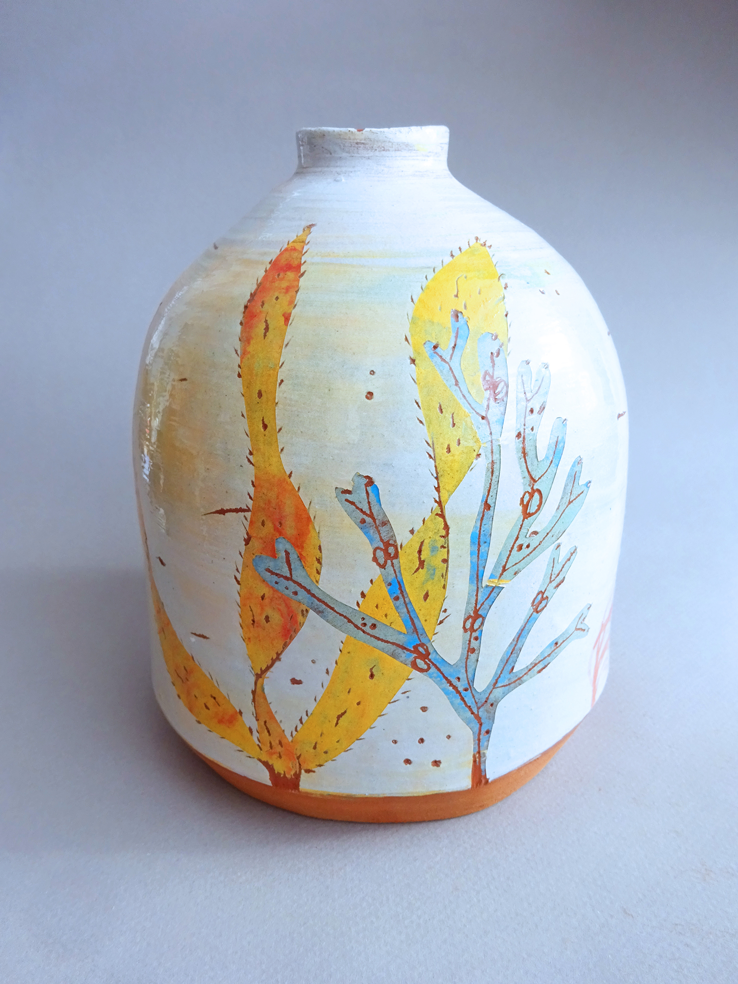 Seaweed Print Round Bottle Vase