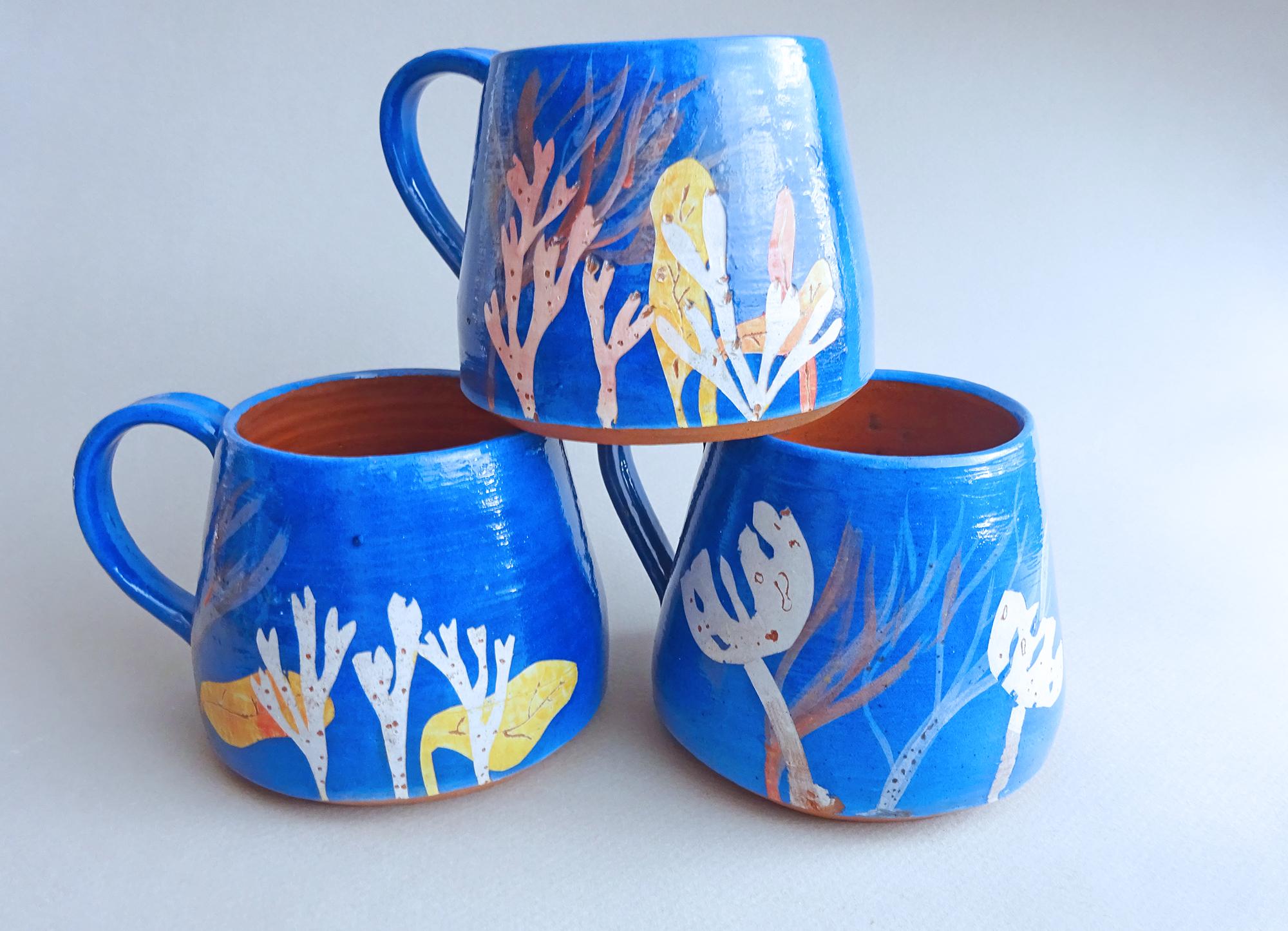 Seaweed Print Mugs Deep Sea Blue