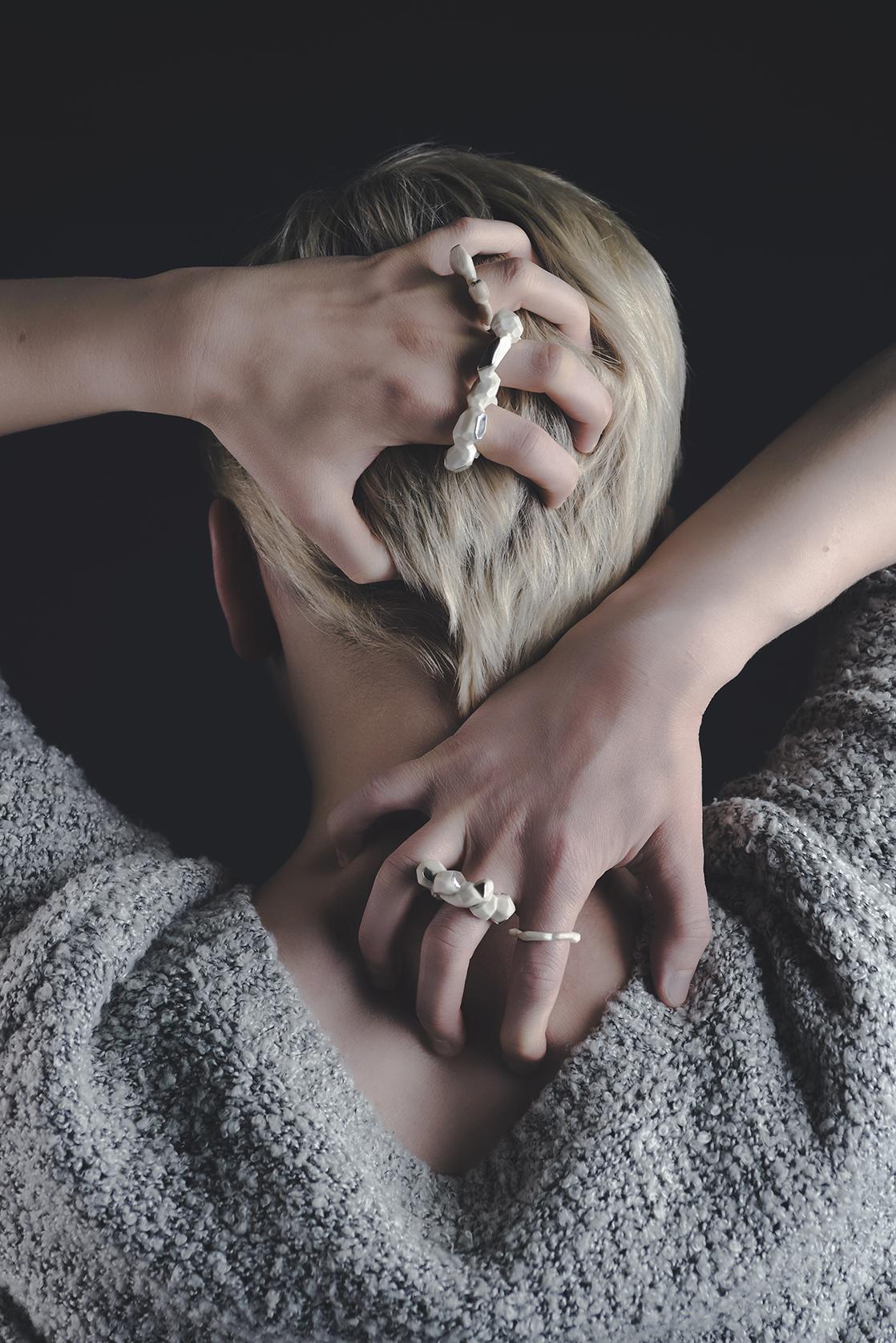 Rings from Graduate Collection  - Bovine Bone & Fine Silver (2014)