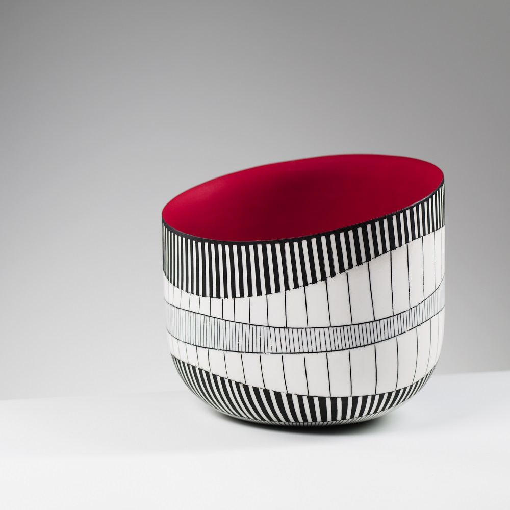 Tilted Bowl with Red Interior