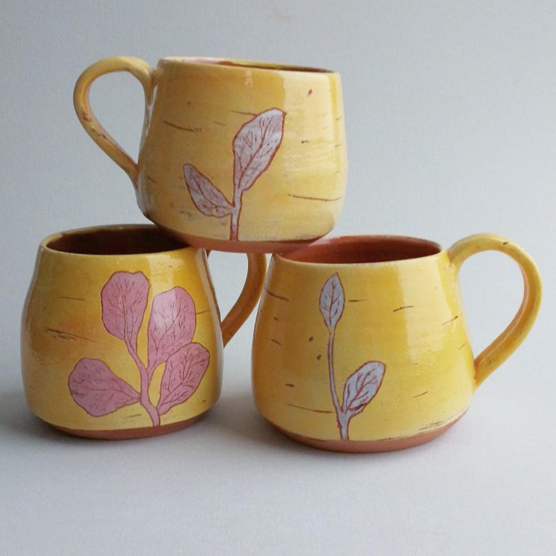 Ochre Yellow Botanical Print Mugs