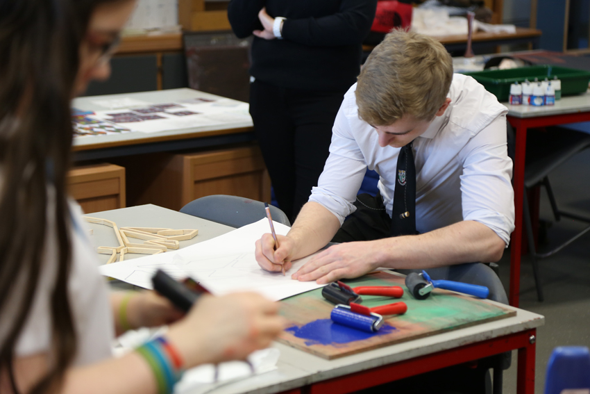 Alis Le May workshops with Advanced Higher Art & Design students at Denny's High School