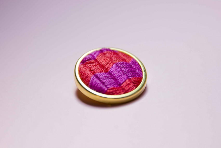 Lauren Smith Chevron embroidered pin in purple and red