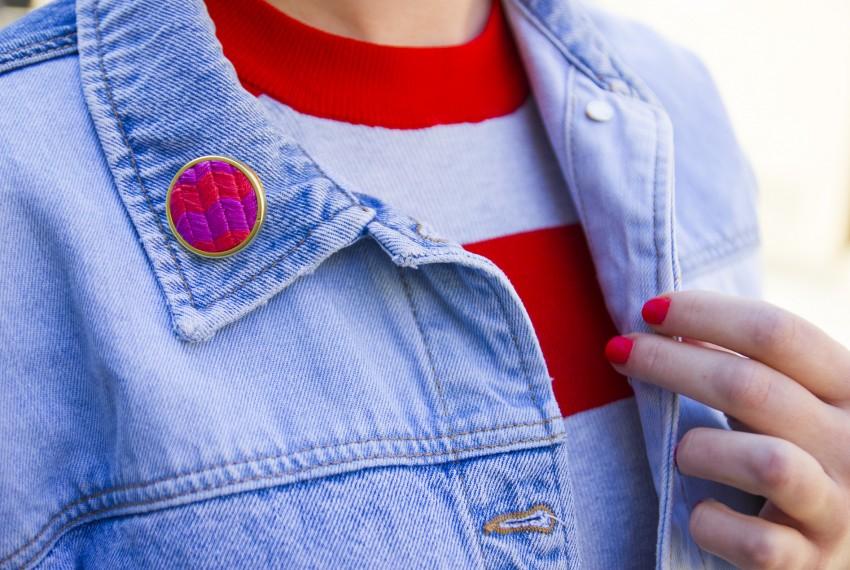 Lauren Smith Chevron embroidered pin worn on denim jacket