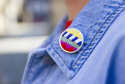 Lauren Smith embroidered Collage Pin worn on denim jacket