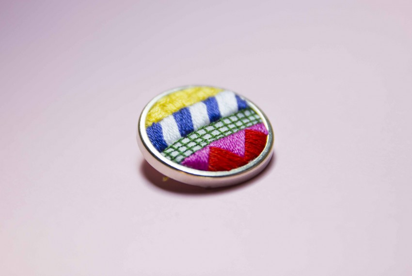 Lauren Smith embroidered Collage Pin