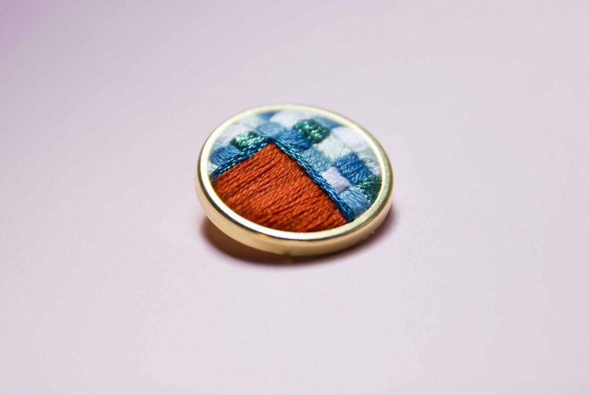 Lauren Smith embroidered Orange & Blue Patchwork Pin