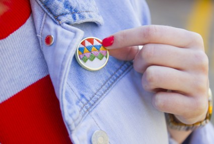 Lauren Smith embroidered Triangles Pin worn on denim jacket