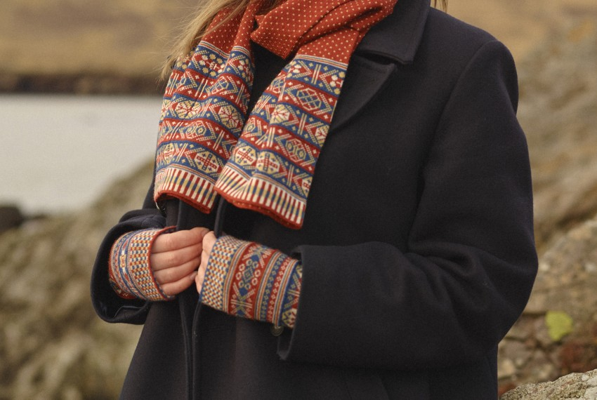 BAKKA Heritage Colour Scarf C903 and Heritage Wrist Warmers V045 on model