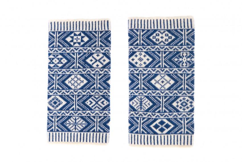 BAKKA Two Colour Heritage Wrist Warmers in blue