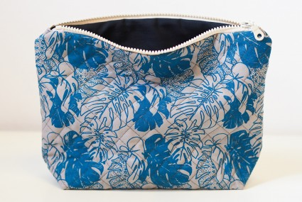 Lucy Engels Large Monstera Quilted Make Up Bag in Blue/Grey