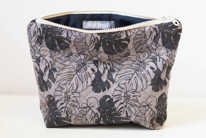 Lucy Engels Large Monstera Quilted Make Up Bag in Black/Grey