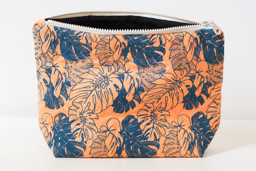 Lucy Engels Large Monstera Quilted Make Up Bag in Blue/Orange