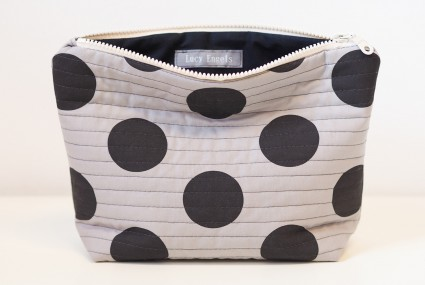 Lucy Engels Large Spot Quilted Make Up Bag in Black/Grey