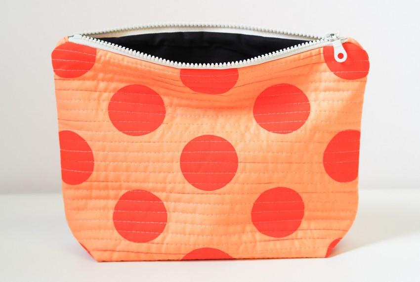 Lucy Engels Large Spot Quilted Make Up Bag in Orange/Orange