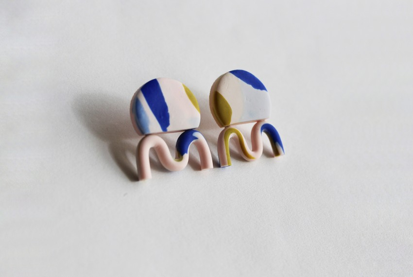 Kate Trouw Wiggle Earrings in pink with a blue and yellow terrazzo  design