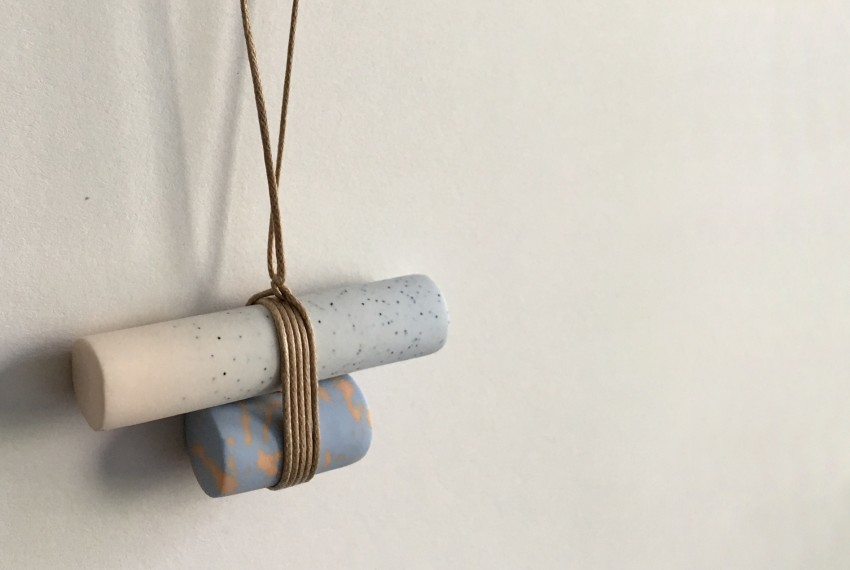 Kate Trouw Double Barrel Necklace in blue and peach on waxed cotton cord