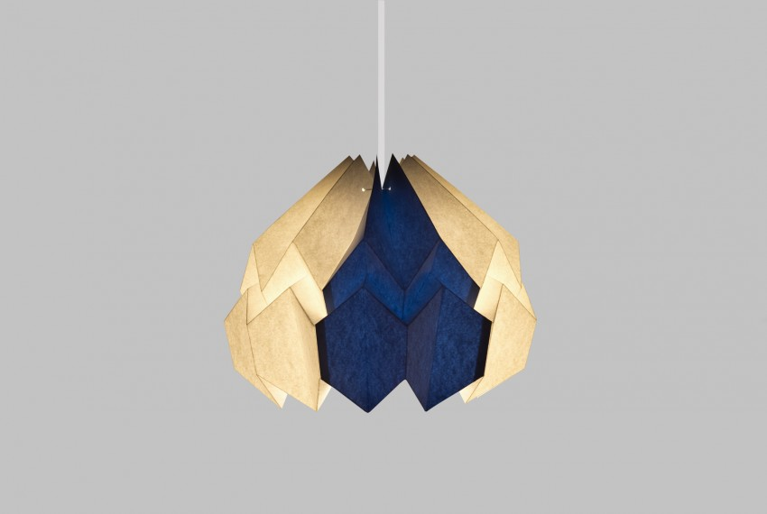 Kate Colin Lotus Shade in White & Azure Blue with light turned on