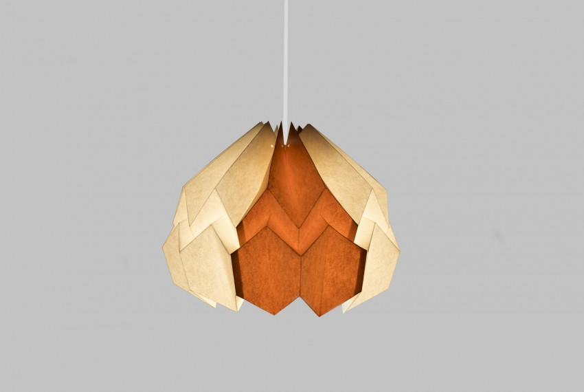 Kate Colin Lotus Shade in White & Mustard Yellow with light turned on