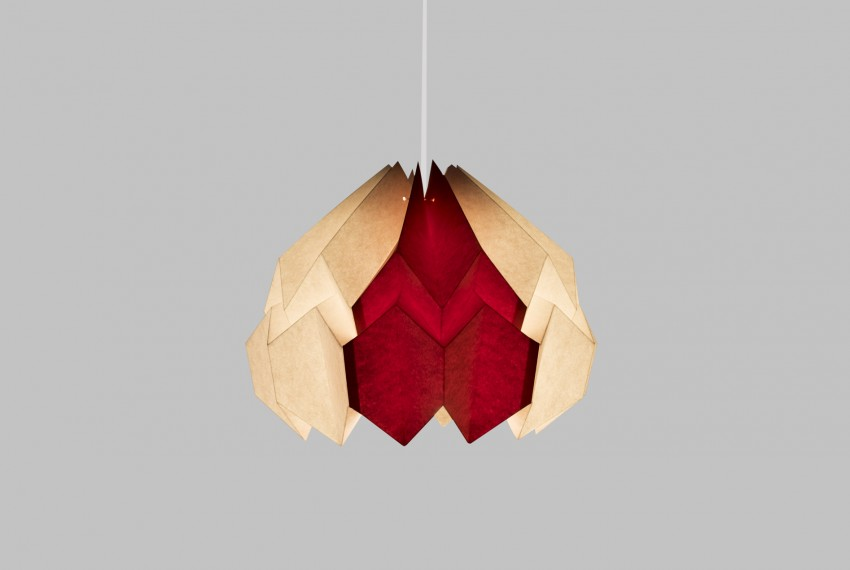 Kate Colin Lotus Shade in White & Orange with light turned on