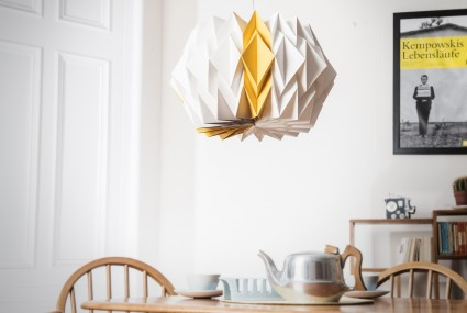 Kate Colin Large Starflower Shade in mustard yellow in a dining room