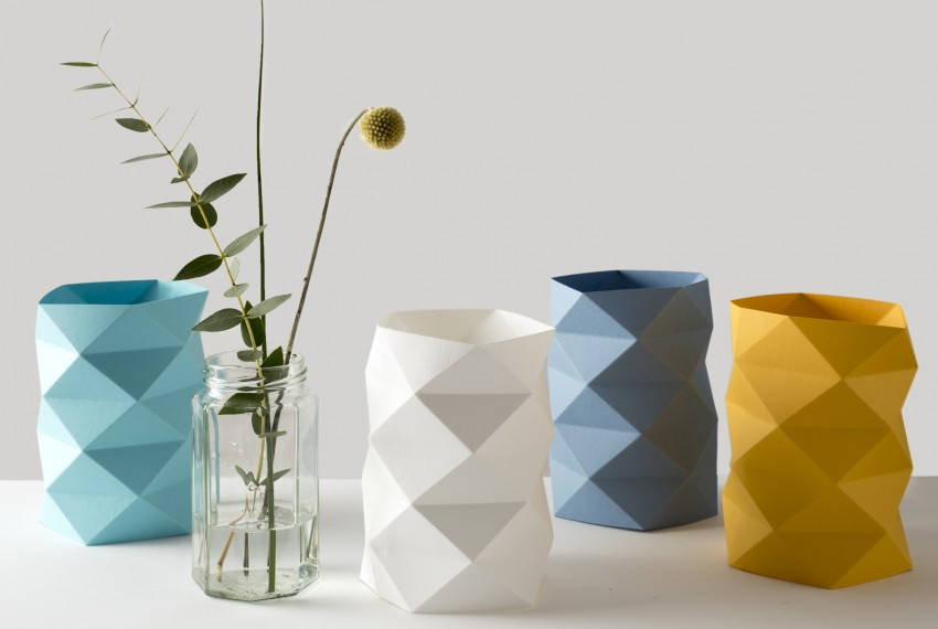Kate Colin Folded Geometric Waffle Vases (from left to right) in Turquoise, White, New Blue and Mustard