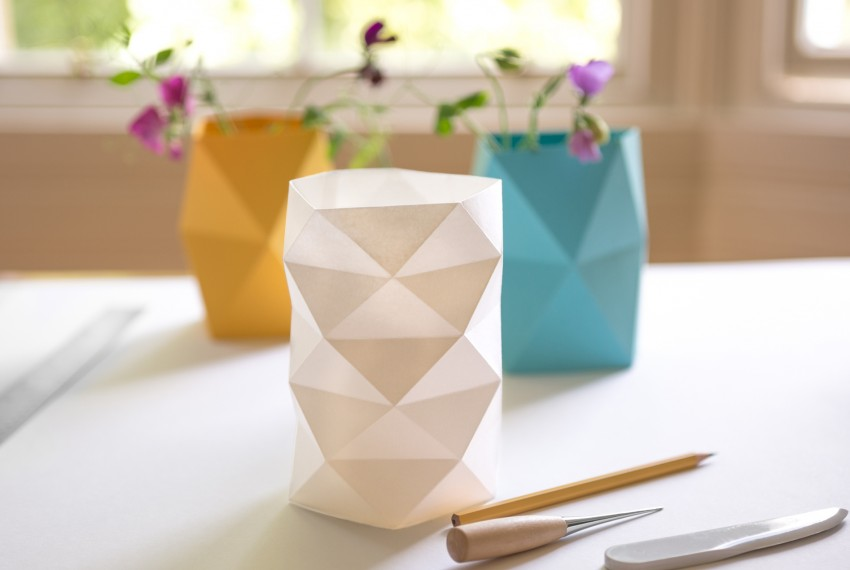 Kate Colin Folded Geometric Waffle Vases (from left to right) in Mustard, White and Turquoise