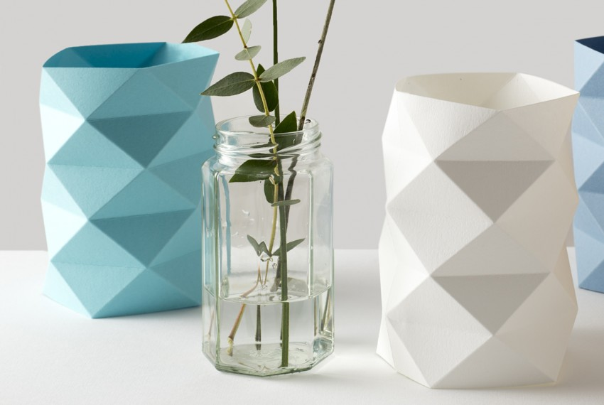 Kate Colin Folded Geometric Waffle Vases (from left to right) in Turquoise and White