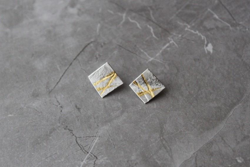 Rhona McCallum Neolith Earrings in Sterling Silver & Keumboo