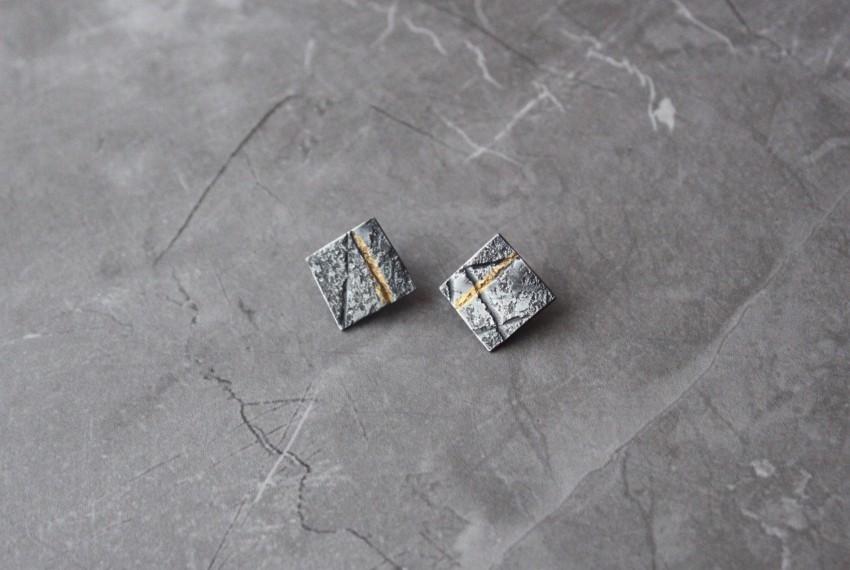 Rhona McCallum Neolith Earrings in Oxidised Silver & Keumboo