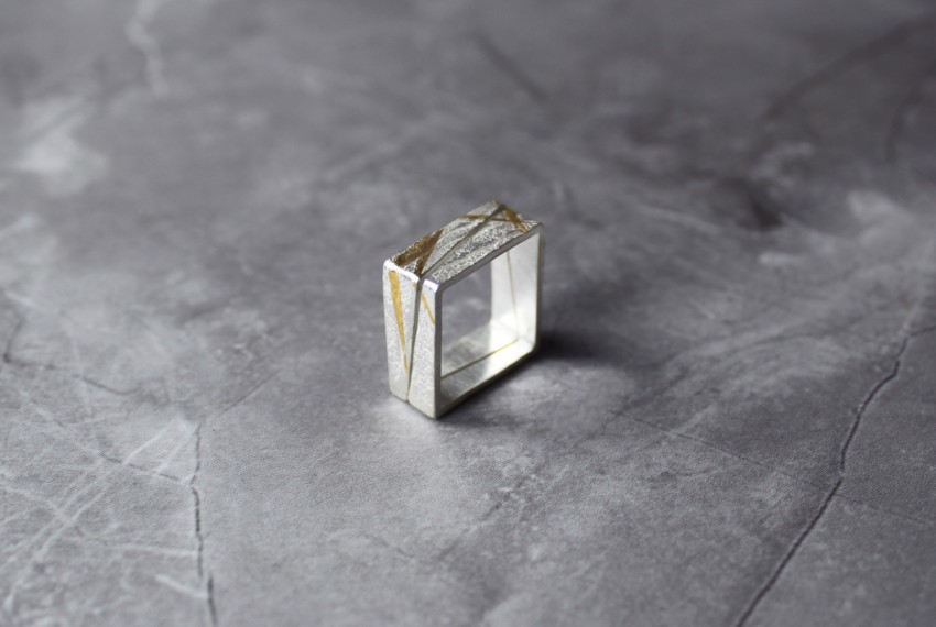 Rhona McCallum Neolith Square Stacking Rings in Sterling Silver & Keumboo