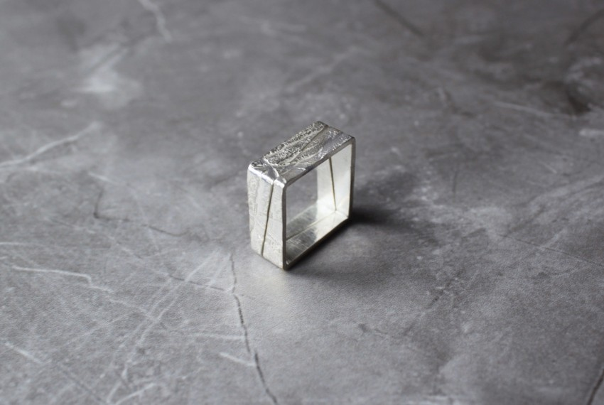 Rhona McCallum Neolith Square Stacking Rings in Sterling Silver