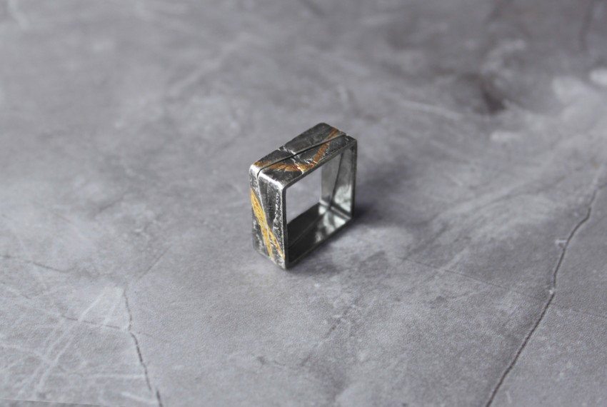 Rhona McCallum Neolith Square Stacking Rings in Oxidised Silver & Keumboo